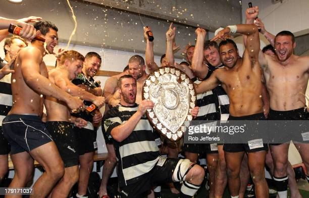 Hawkes Bay celebrate winning the Ranfurly Shield in round three ITM Cup match between Otago and Hawke's Bay at Forsyth Barr Stadium on September 1,...