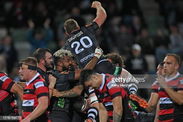Hawke's Bay players celebrate a try after full time to win the round 3 Mitre 10 Cup match between Hawke's Bay and Canterbury at McLean Park on...