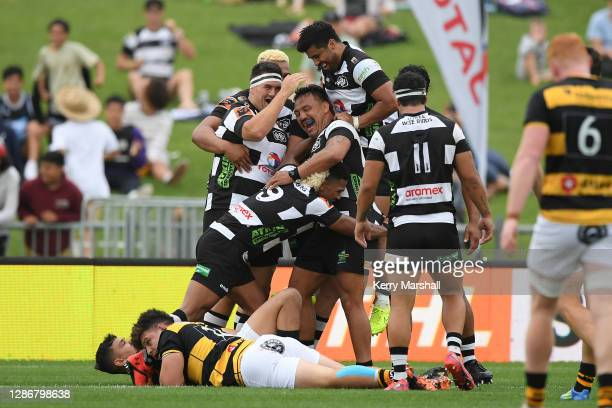 Hawke's Bay players celebrate an Ash Dixon try during the Mitre 10 Cup Semi Final match between Hawke's Bay and Taranaki at McLean Park on November...
