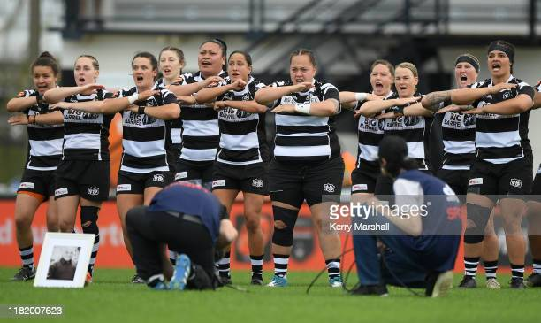 Hawkes Bay players challenge before the Farah Palmer Cup Championship Semi Finals match between Hawkes Bay and Northland at McLean Park on October 19...