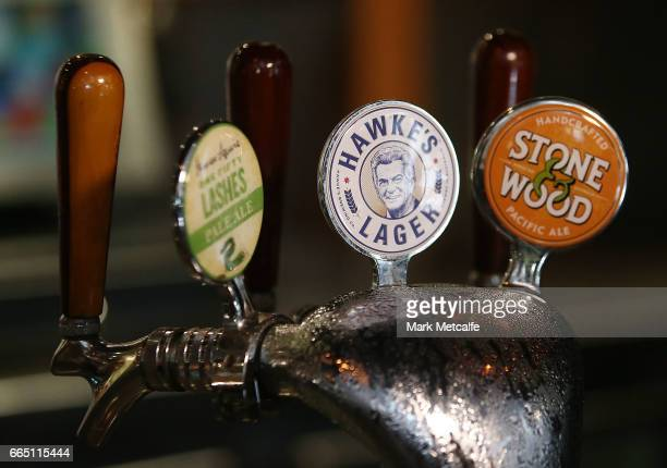 Hawke's Brewing Company draught tap is seen behind the bar at the launch of Hawke's Lager at The Clock Hotel on April 6 2017 in Sydney Australia The...