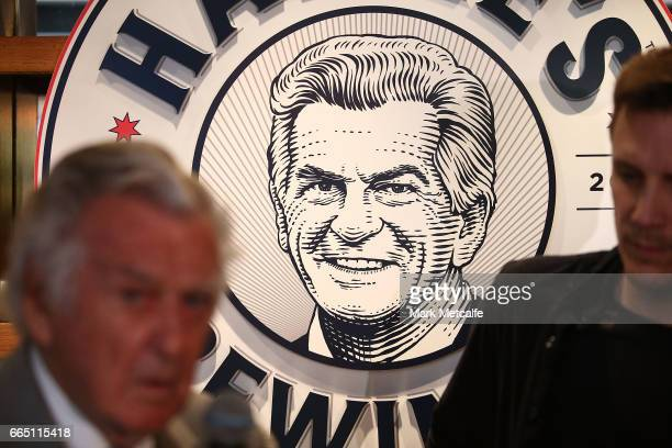 Hawke's Brewing Company sign is seen behind the bar at the launch of Hawke's Lager at The Clock Hotel on April 6 2017 in Sydney Australia The former...
