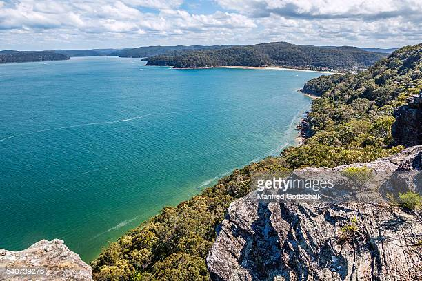 hawkesbury river from warrah lookout - new south wales stock pictures, royalty-free photos & images