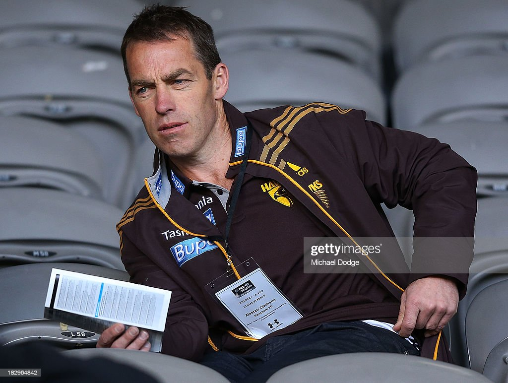 Hawks coach Alastair Clarkson is seen during the 2013 AFL Draft Combine at Etihad Stadium on October 3, 2013 in Melbourne, Australia.