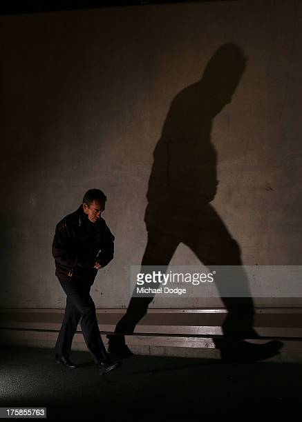 Hawks coach Alastair Clarkson walks out to the ground during the round 20 AFL match between the St Kilda Saints and the Hawthorn Hawks at Etihad...