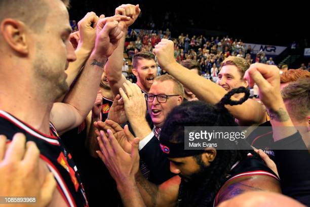 Hawks Coach Rob Beveridge celebrates his teams win after the round 10 NBL match between the Illawarra Hawks and the Perth Wildcats at Wollongong...