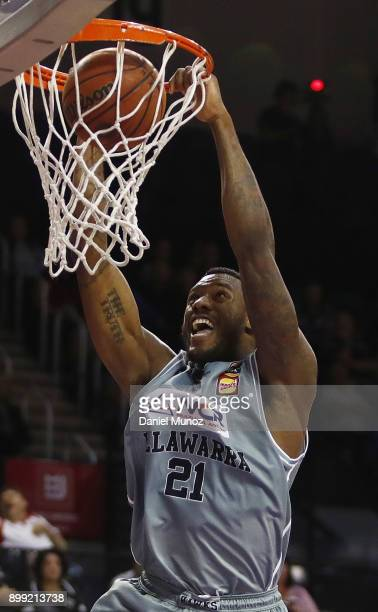 Hawks Delvon Johnson dunks the ball during the round 12 NBL match between the Illawarra Hawks and the Cairns Taipans at Wollongong Entertainment...