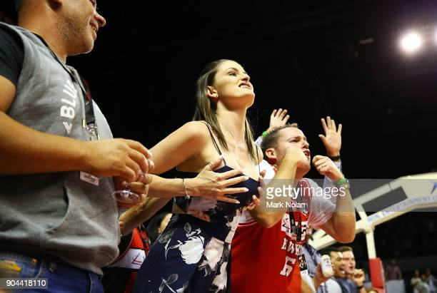 Hawks fans heckle the Breakers bench during the round 14 NBL match between the Illawarra Hawks and the New Zealand Breakers at Wollongong...