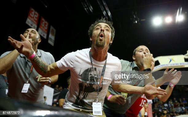 Hawks fans heckle to Sydney Kings bench during the round seven NBL match between the Illawarra Hawks and the Sydney Kings at Wollongong Entertainment...