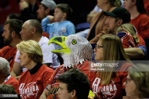 Hawks fans look on during game one of the NBL Semi-Final Series between the Illawarra Hawks and the Perth Wildcats at WIN Entertainment Centre, on...