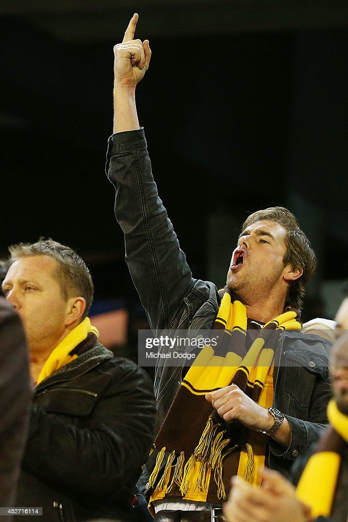 A Hawks fans reacts after Lance Franklin of the Swans misses a goal during the round 18 AFL match between the Hawthorn Hawks and the Sydney Swans at Melbourne Cricket Ground on July 26, 2014 in Melbourne, Australia.