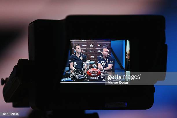 Hawks head coach Alastair Clarkson and Hawks Captain Luke Hodge speak to the media during the AFL Finals Series Launch press conference at Fox Footy...