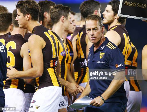 Hawks head coach Alastair Clarkson looks upfield during the round five AFL match between the North Melbourne Kangaroos and the Hawthorn Hawks at...