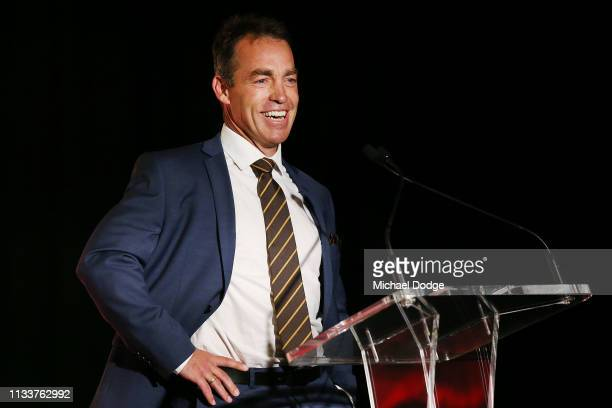 Hawks head coach Alastair Clarkson makes a speech during the Hawthorn Hawks AFL season launch at Melbourne Cricket Ground on March 05 2019 in...