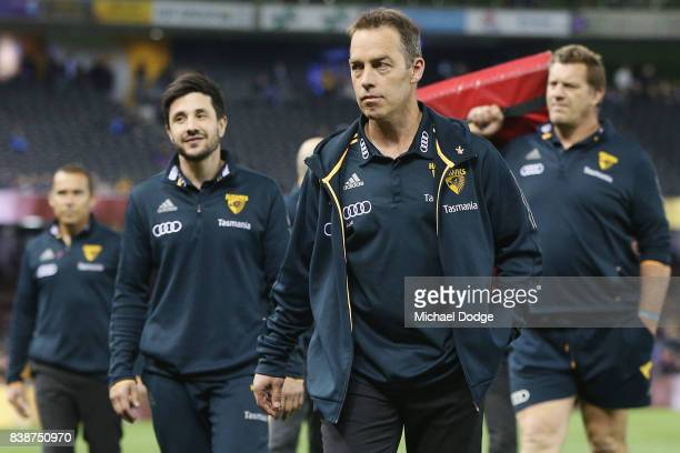 Hawks head coach Alastair Clarkson walks off during round 23 AFL match between the Hawthorn Hawks and the Western Bulldogs at Etihad Stadium on...