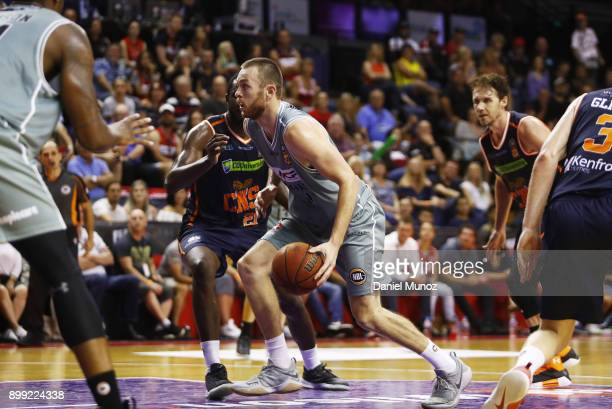 Hawks Nick Kay controls the ball during the round 12 NBL match between the Illawarra Hawks and the Cairns Taipans at Wollongong Entertainment Centre...