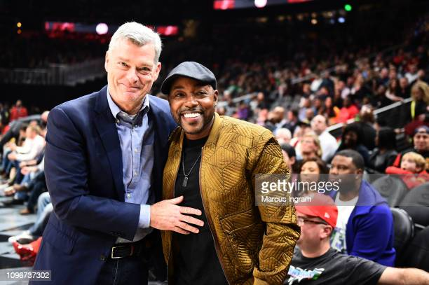 Hawks owner Antony Ressler and Producer Will Packer attend Atlanta Hawks Vs Boston Celtics game in partnership with 'What Men Want' at State Farm...