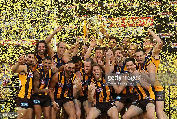 Hawks players celebrate with the Premeirship Cup during the 2014 AFL Grand Final match between the Sydney Swans and the Hawthorn Hawks at Melbourne...