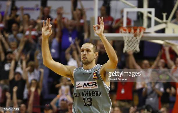 Hawks Rhys Martin reacts after converting three points during the round 12 NBL match between the Illawarra Hawks and the Cairns Taipans at Wollongong...