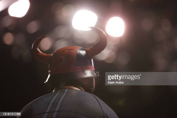 Hawks supporters wearing a horned helmet watches on during the round 18 NBL match between Illawarra Hawks and New Zealand Breakers at WIN...