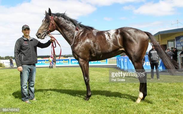 Hawkshot after winning Magnum Equine 2YO Maiden Plate at SportsbetBallarat Racecourse on March 20 2018 in Ballarat Australia