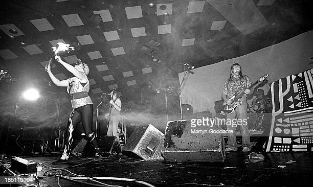 Hawkwind perform on stage in at Glasgow Barrowlands United Kingdom 1990