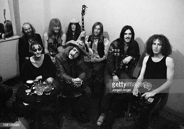 Hawkwind posed backstage in Bristol, England in April 1972 L-R Del Dettmar, Nik Turner, Simon King, Dave Brock, Lemmy, ?, Front: Stacia Dik Mik