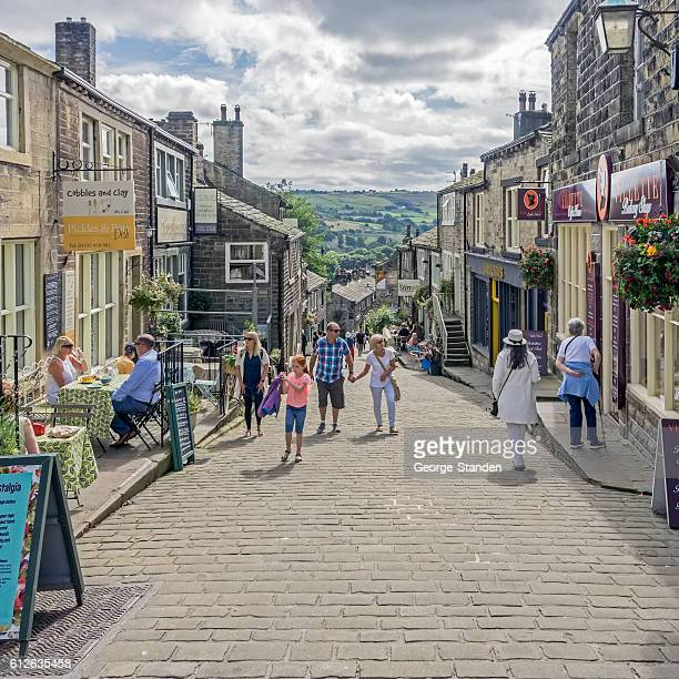 haworth, yorkshire. - high up stock photos and pictures