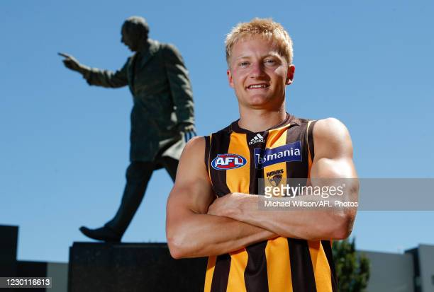 Hawthorn draftee Jack Saunders poses for a photograph during a Hawthorn Hawks AFL media opportunity at Waverley Park on December 14, 2020 in...