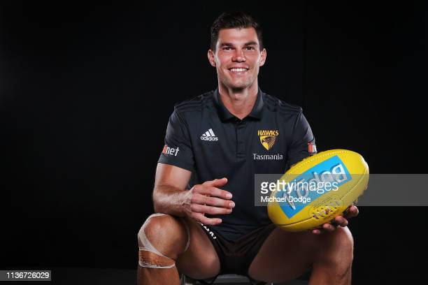 Hawthorn Hawks AFL midfielder Jaeger O'Meara poses during a media opportunity at Waverly Park on March 19, 2019 in Melbourne, Australia.