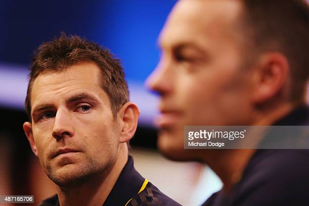 Hawthorn Hawks Captain Luke Hodge caught drink driving last week by police listens to Hawks head coach Alastair Clarkson speak to the media during...