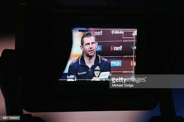Hawthorn Hawks Captain Luke Hodge caught drink driving last week by police speaks to the media during the AFL Finals Series Launch press conference...
