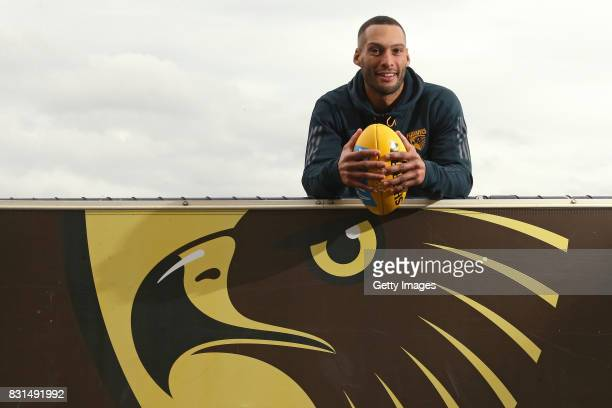 Hawthorn Hawks defender Josh Gibson poses for a photo following his AFL retirement announcement during a press conference at Waverley Park on August...