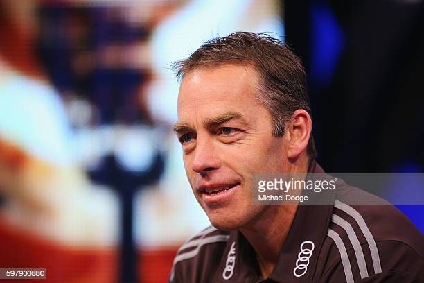 Hawthorn Hawks head coach Alastair Clarkson speaks to the media during an AFL Finals media opportunity at Fox Studios on August 30 2016 in Melbourne...