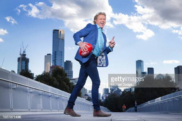 Hawthorn Hawks legend Dermott Brereton performs his Chicken Walk for the first time since he did it famously on the playing field during the FOX...