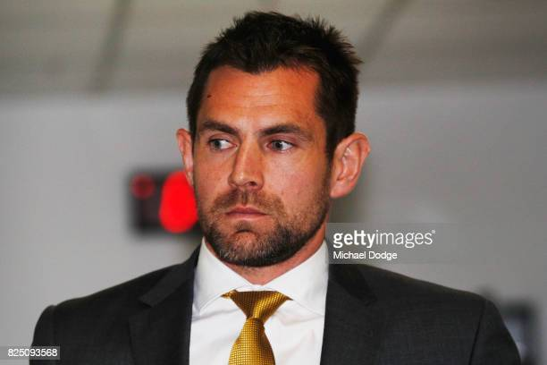 Hawthorn Hawks player Luke Hodge arrives ahead of the AFL Tribunal hearing into his striking charge at AFL House on August 1 2017 in Melbourne...