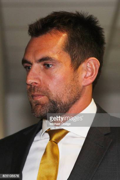 Hawthorn Hawks player Luke Hodge leaves the AFL Tribunal hearing into his striking charge at AFL House on August 1 2017 in Melbourne Australia