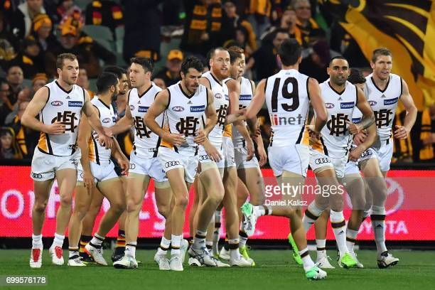 Hawthorn players celebrate their first goal during the round 14 AFL match between the Adelaide Crows and the Hawthorn Hawks at Adelaide Oval on June...