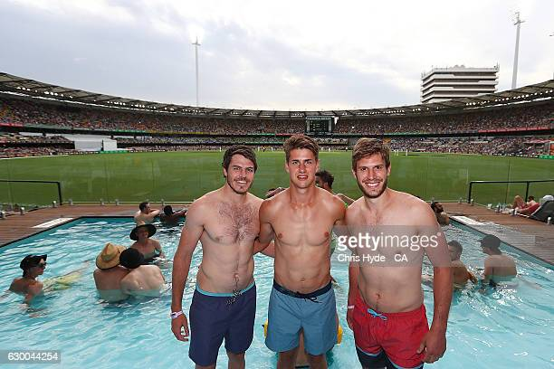 Hawthorn players Isaac Smith Daniel Howe and Grant Birchall pose at the Pool deck during day two of the First Test match between Australia and...