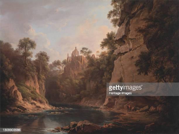 Hawthornden Castle, near Edinburgh, between 1820 and 1822. Artist Alexander Nasmyth. .