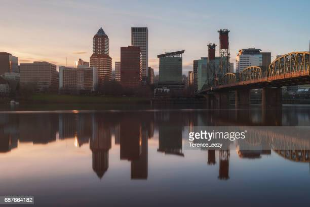 hawthorne bridge and portland skyline, oregon - willamette river stock photos and pictures