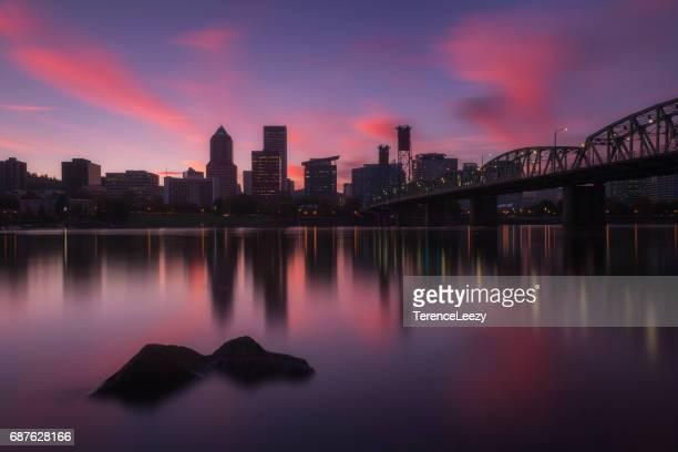 Hawthorne Bridge, PDX Skyline, Willamette River Reflections, Portland, Oregon