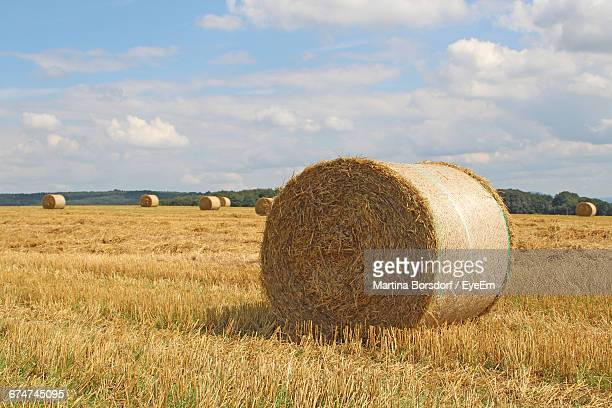 Hay Bales On Grassy Field Against Sky