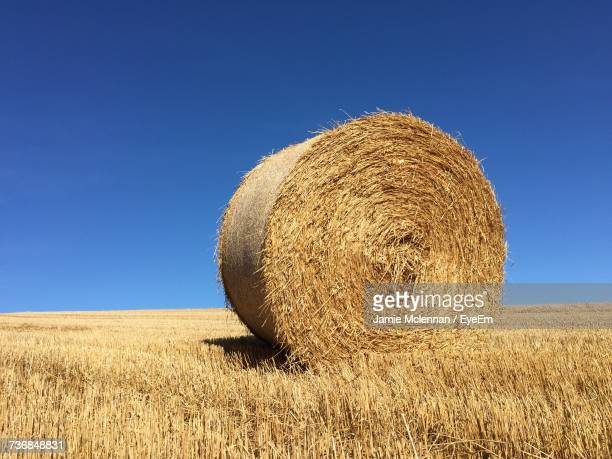 Hay Bales On Sand Against Clear Sky