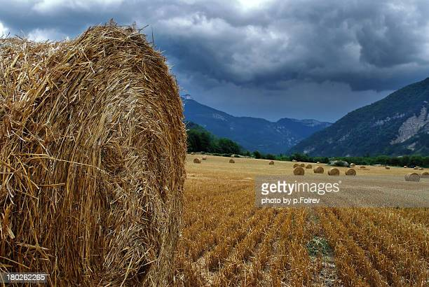 Hay bales under stormy skies