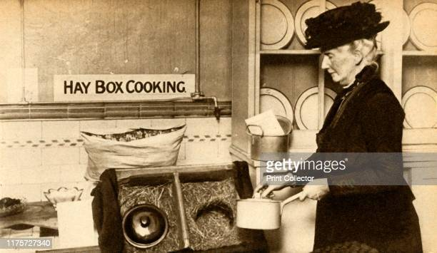 Hay box cooking First World War 19141918 'Economy in fuel led to the adoption of hayboxes for completing the cooking of partially cooked foods' From...