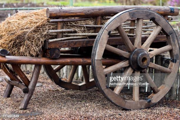Hay On Wooden Cart At Field
