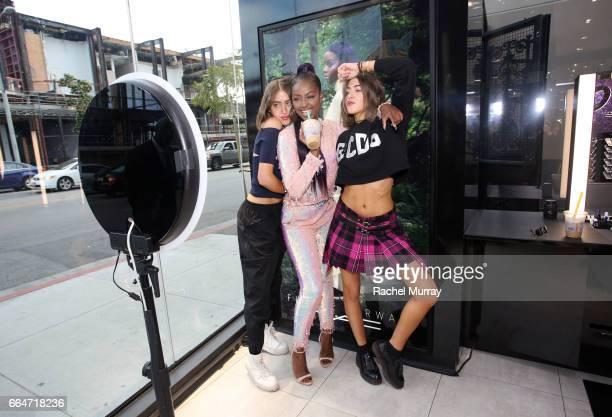 Haya Khadra Sama Khadra and singer Justine Sky attend MAC Cosmetics Future Forward appearance with Singer Justine Skye at MAC Pro Melrose on April 4...