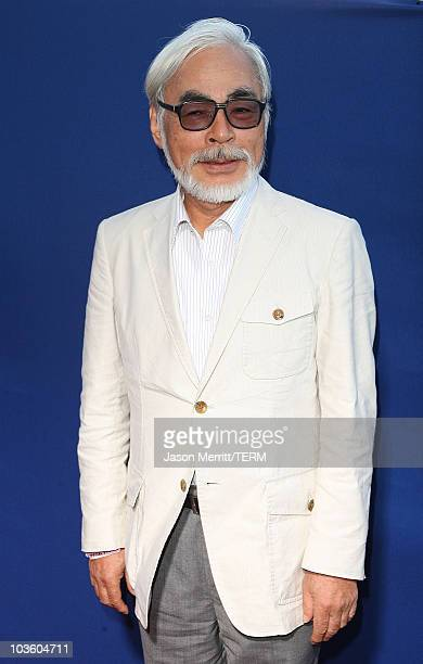 Hayao Miyazaki arrives at a special screening of Walt Disney Pictures' 'Ponyo' at the El Capitan Theatre on July 27 2009 in Hollywood California