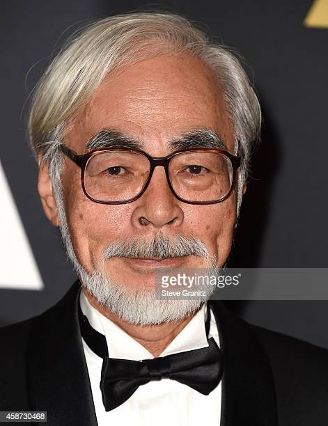 Hayao Miyazaki arrives at the Motion Picture Academy's 6th Annual Governors Awards at Dolby Theatre on November 8 2014 in Hollywood California